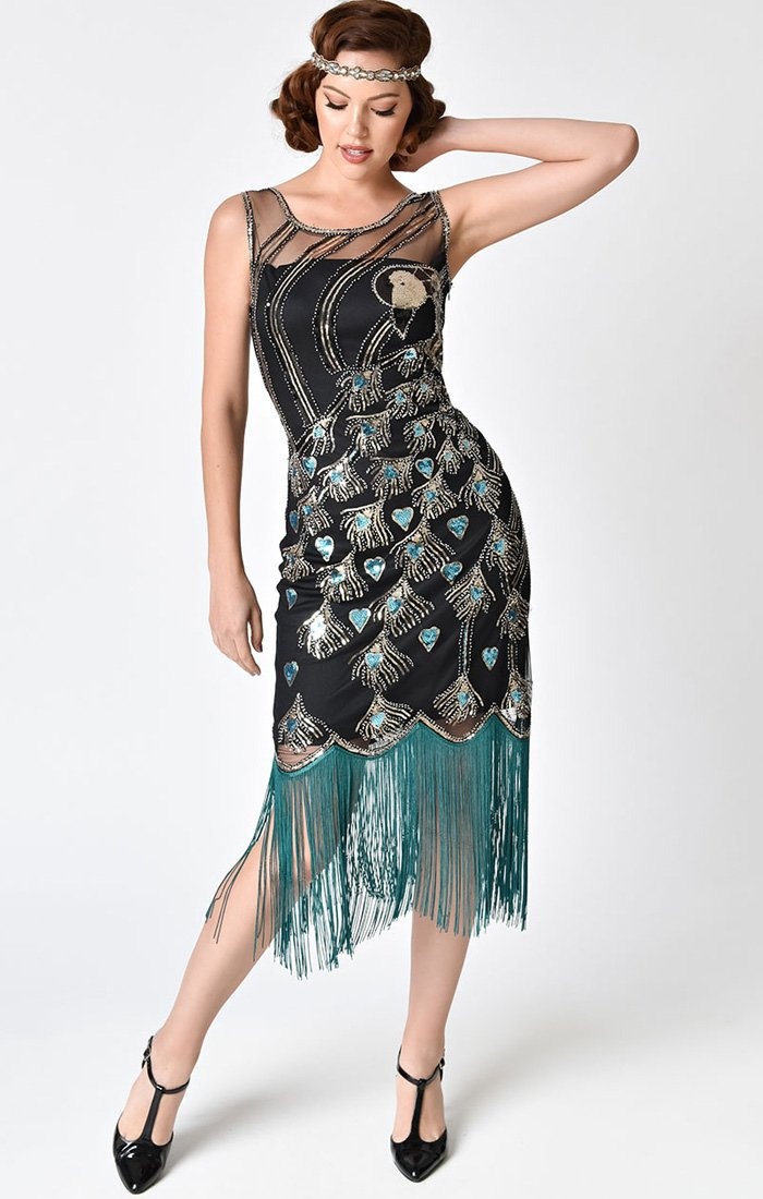 Peacock Beaded Flapper Dress-Antoinette - Blanche's Place