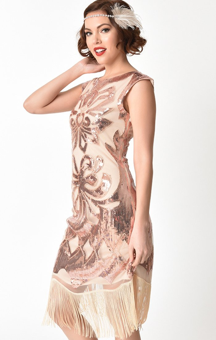 1920s Inspired Beige & Rose Gold Sequin  Flapper Dress-Edwige
