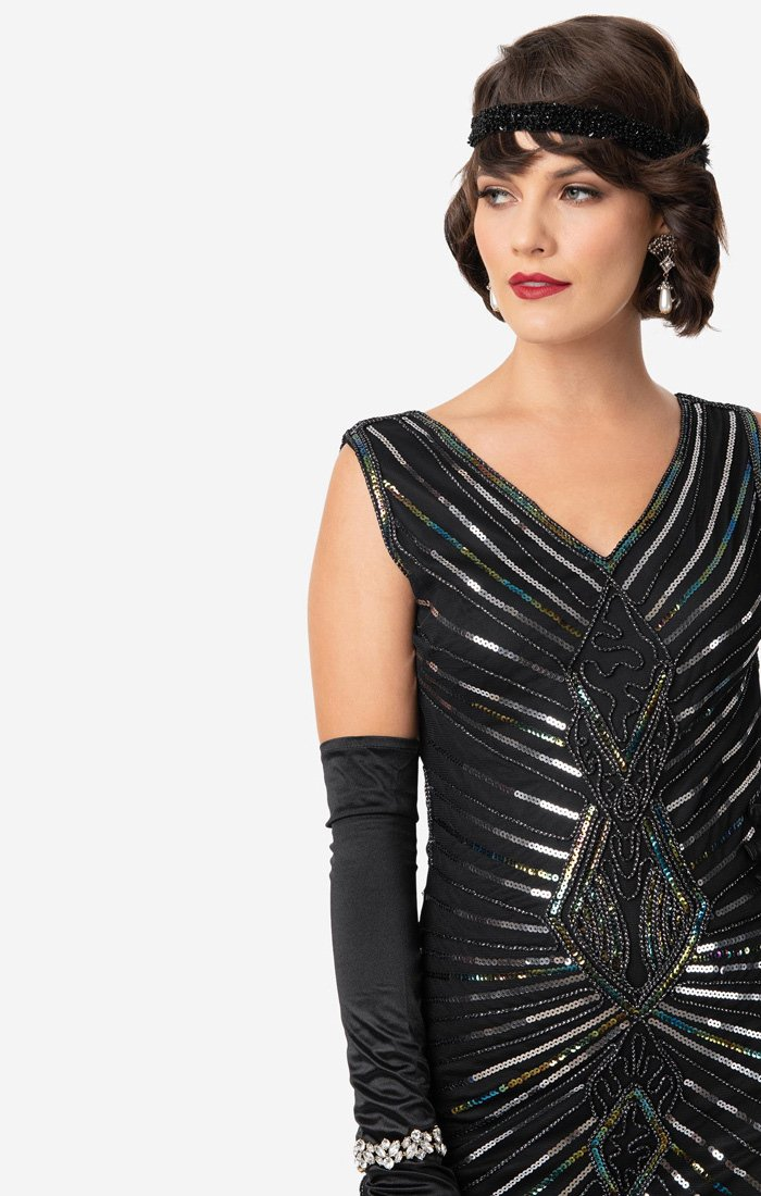1920's Black and Silver Beaded Flapper Dress-Dacquoise - Blanche's Place