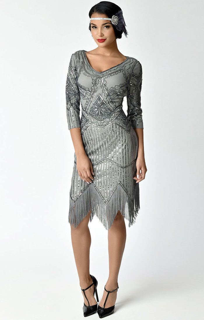 ddb6d4f8a87 Unique Vintage 1920 s Vintage Inspired Great Gatsby Beaded Flapper Dress