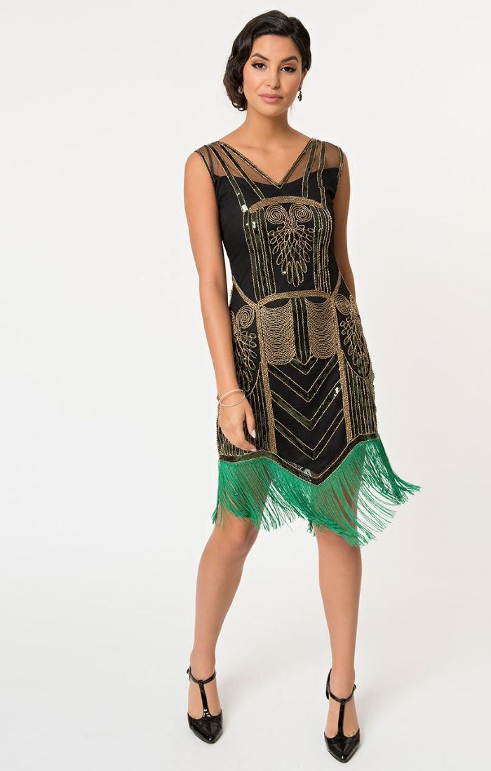 Black & Gold Beaded & Green Fringe Flapper Dress-Henriette