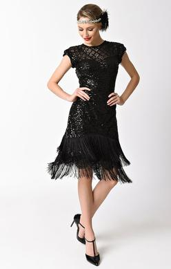 1920's Vintage Inspired Sequin and Fringe Cocktail Dress-Del Mar