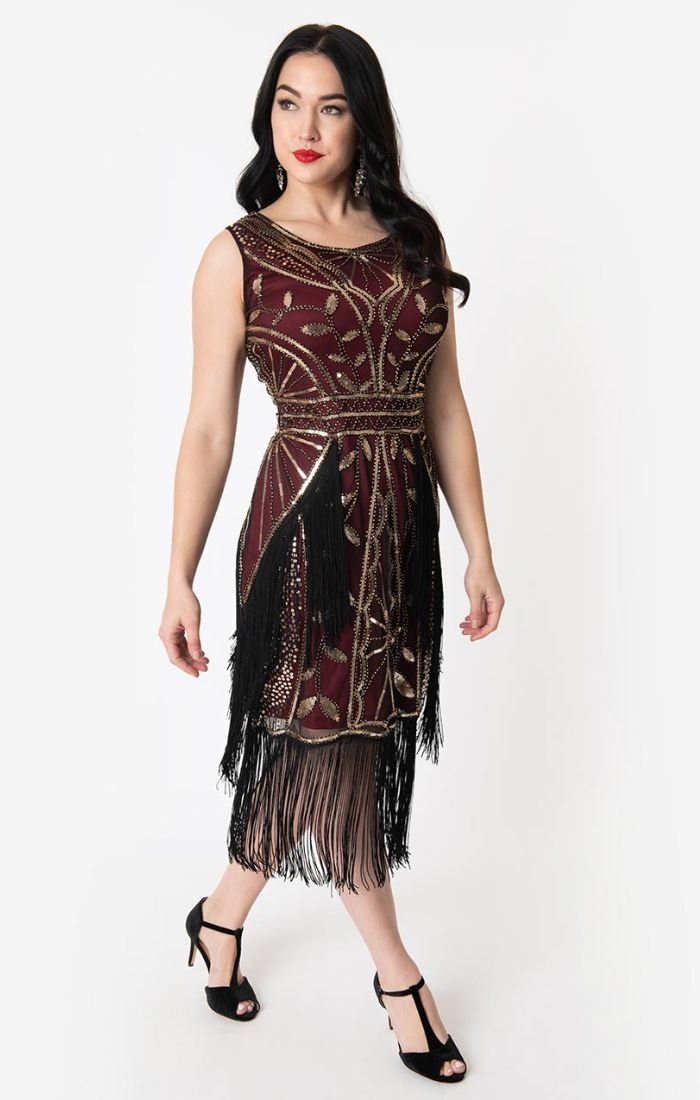 Burgundy and Gold 1920 Beaded Flapper Dress-Ambroise - Blanche's Place