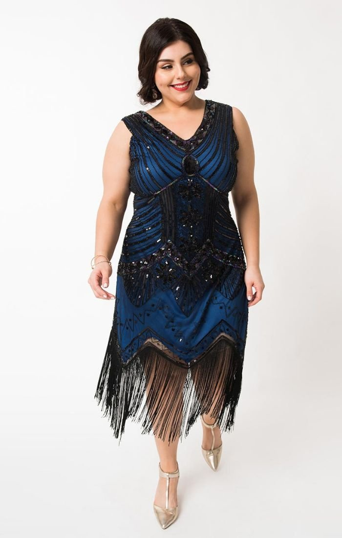 49baac0a11ba ... 1920's Vintage Inspired Beaded Flapper Dress-Veronique - Blanche's  Place ...