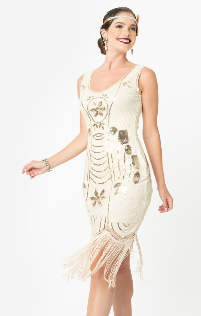 Cream and Gold 1920's beadded flapper Dress