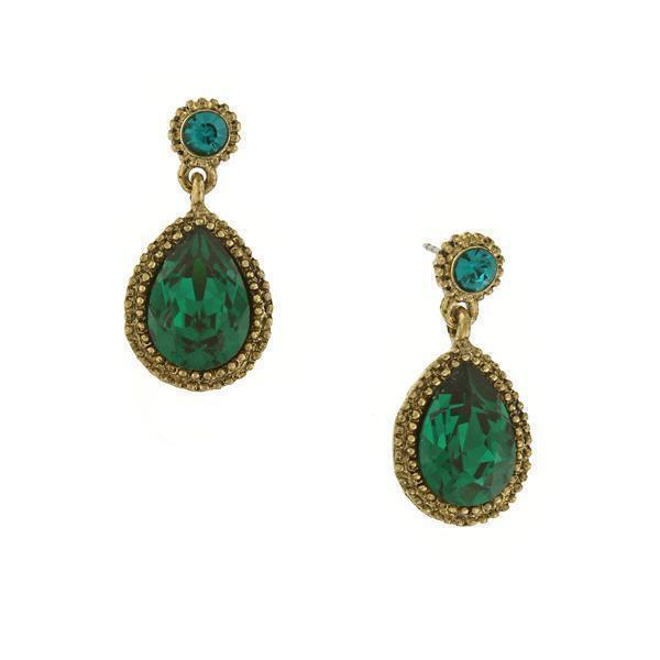 1928 Vintage Gold Tone and Green Crystal Teardrop Earrings-24302