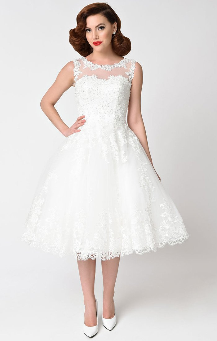 1950's Ivory Lace and Tulle Inspired Wedding Dress-Riviera - Blanche's Place