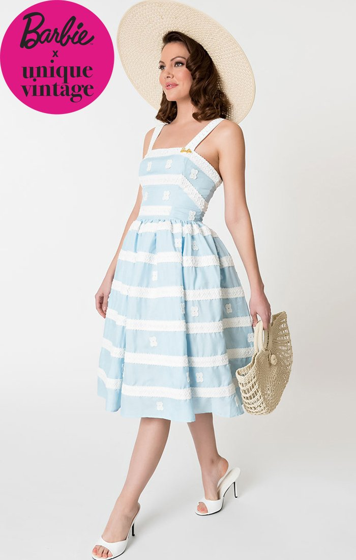 1960's Vintage Inspired Blue Sundress-Barbie Collection - shop-blanches-place