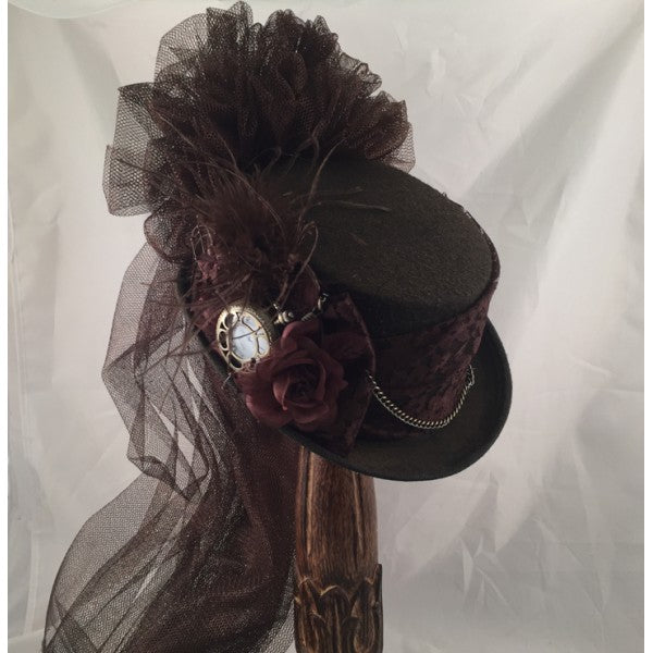 Ladies Brown Victorian Steampunk Riding  Hat Hat