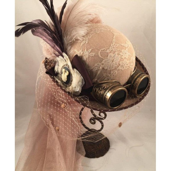 Victorian Steampunk Beige Riding Hat with Goggles