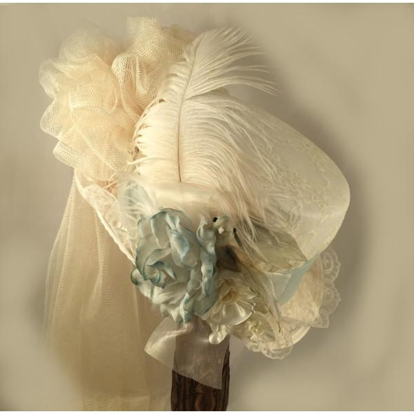 Ivory Victorian Inspired Ladies Riding Hat in seafoam
