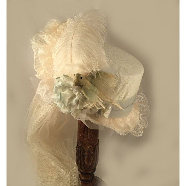 Ladies Ivory Victorian Riding Hat with Seafoam Accents