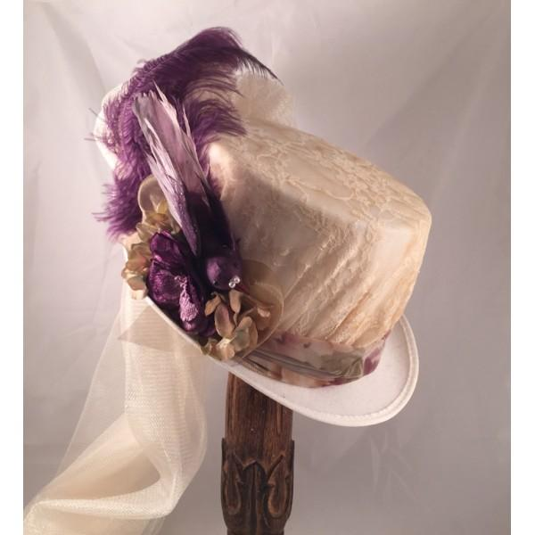 Ivory Victorian Riding Hat with Plum Accents-2016935