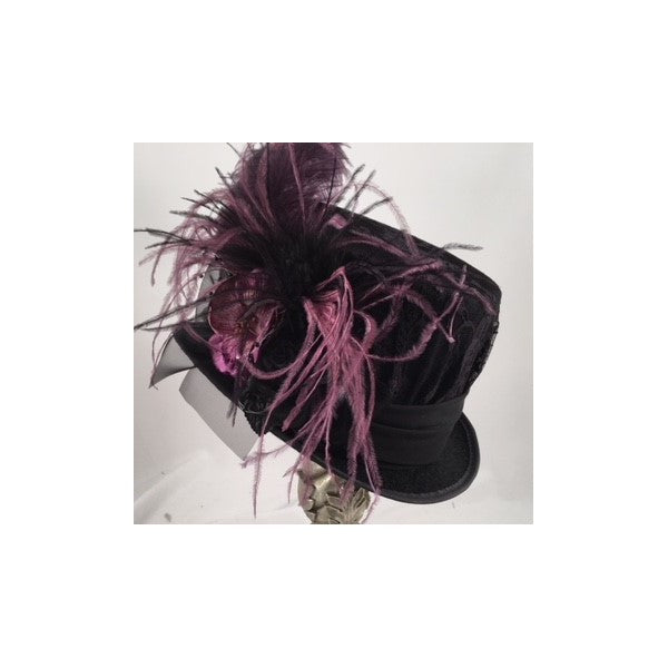 Ladies black victorian riding hat with deep purple accents