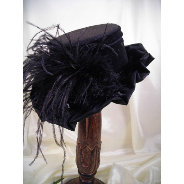 Small Black VIctorian Hat with Ruffled Brim