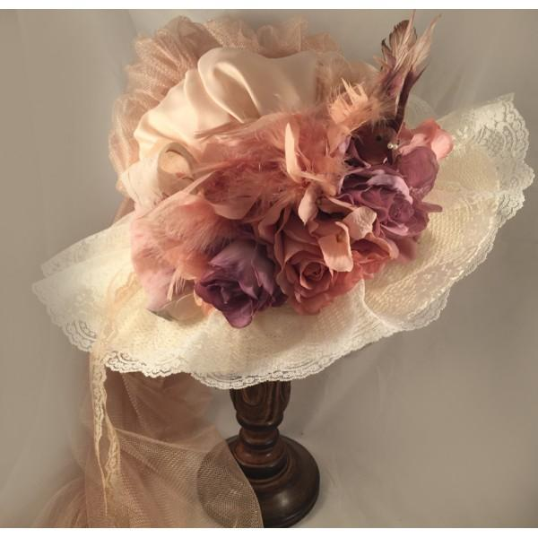 ANTIQUE TOURING HAT WITH FRENCH LAVENDER-40016