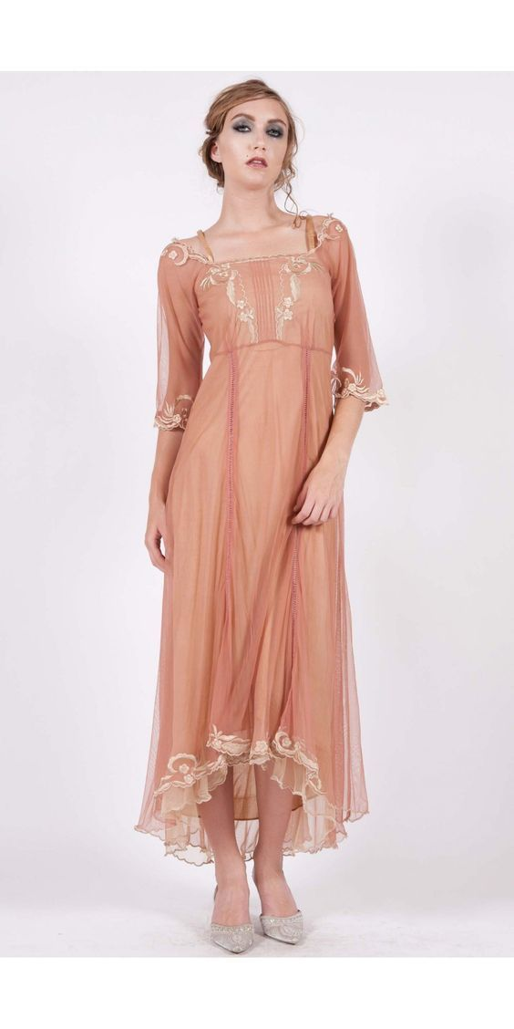 Nataya Vintage Inspired Dress-Rose Gold Size Medium-On Sale - Blanche's Place