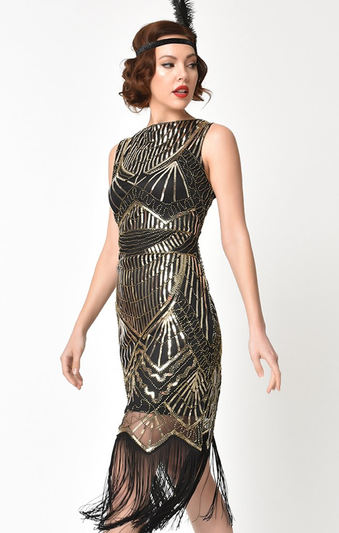 1920's Art Deco Inspired Black and Gold Beaded Flapper Dress-Therese - Blanche's Place