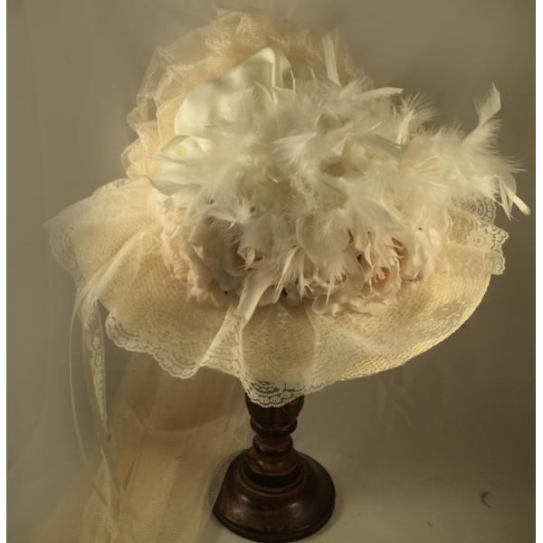 Ivory Victorian Hat-506 - shop-blanches-place
