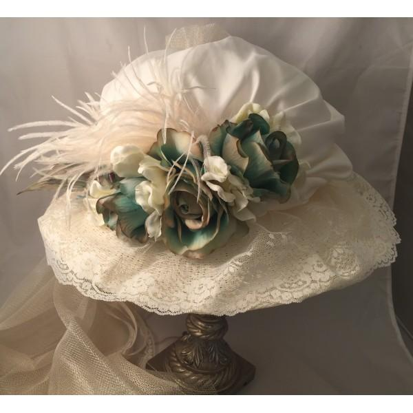 Ladies Victorian Hat with French Blue Accents-613 - Blanche's Place