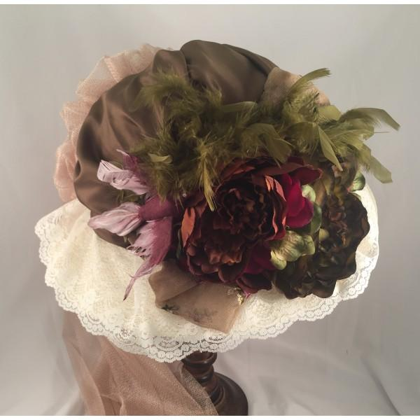 Ladies Ivory Victorian Hat with Antique Green and Burgundy Accents-650 - Blanche's Place