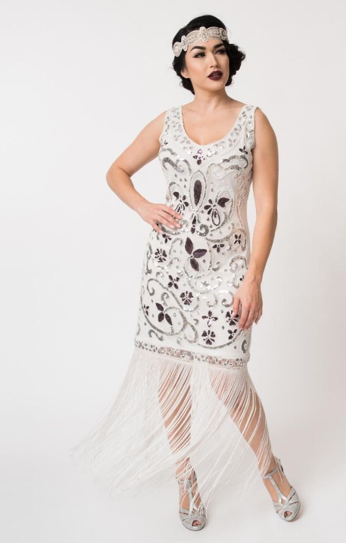 Great Gatsby beaded flapper dress with long fringe