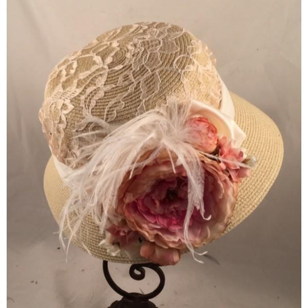 Vintage Inspired 1920's Cloche Hat with Mauve Accents-9031 - Blanche's Place