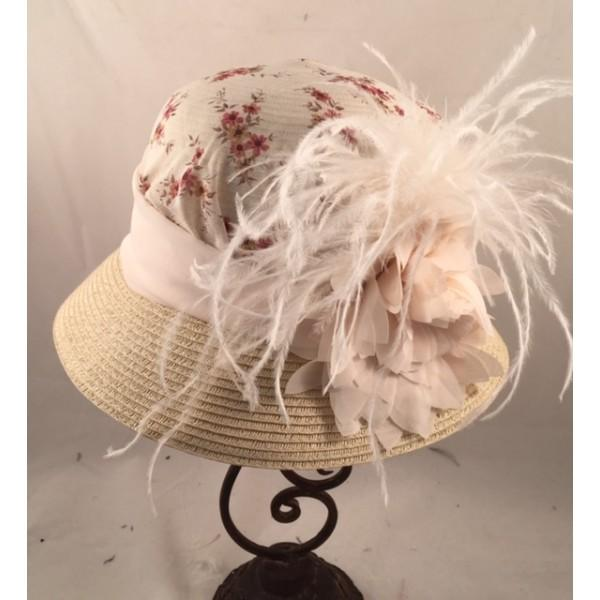 118c464f64d4be 1920's Vintage Inspired Ladies Cloche Hat with Floral Accents-9339 -  Blanche's Place