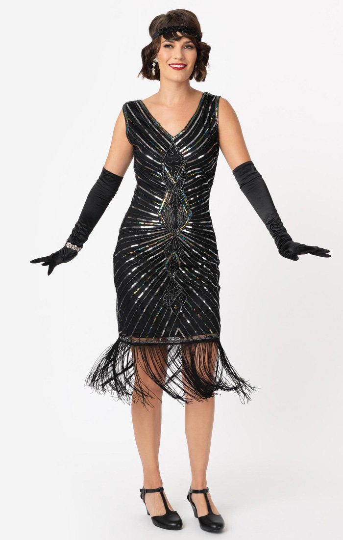1920s Black and Silver Beaded Flapper Dress With Long Fringe-Dacquoise - Blanche's Place