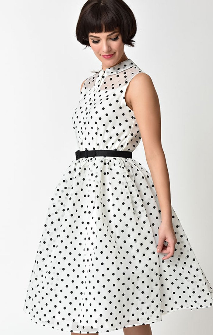 1950s Style White & Black Dotted Georgia Swing Dress-Georgia - shop-blanches-place