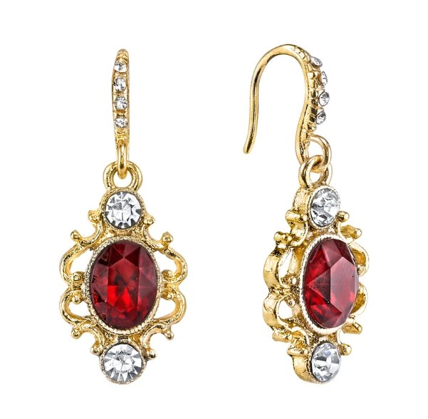 Downton Abbey Gold Tone Earring with Red Stone and Crystal-17552 - Blanche's Place