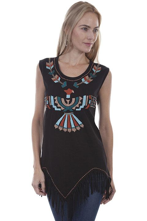 Ladies Western Tank with Aztec Design- HC388 - Blanche's Place