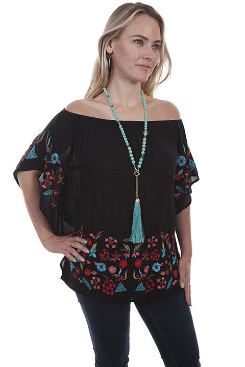 Ladies Native Western Inspired Blouse with Embroidery-HC457 - Blanche's Place