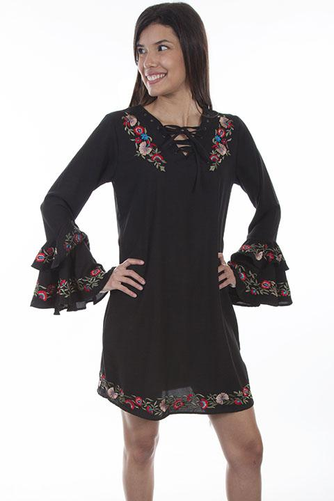 Honey Creek Black Western Dress with Southwestern Embroidery-HC506 - Blanche's Place