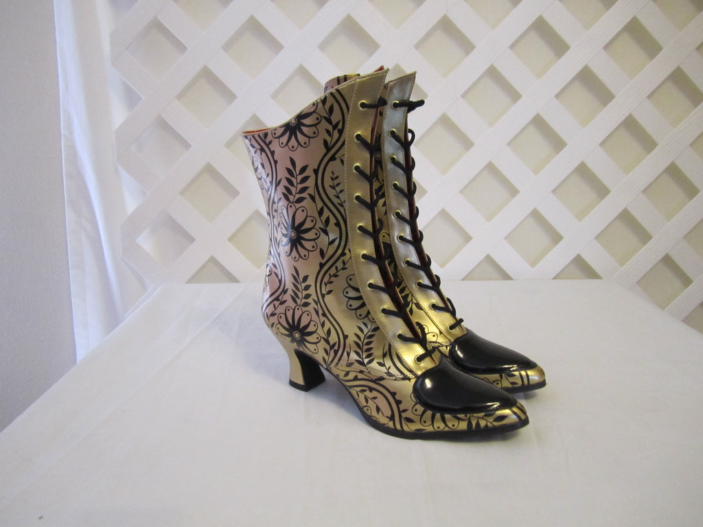 Ladies Black and Gold Lace Up Steampunk Boots - Blanche's Place