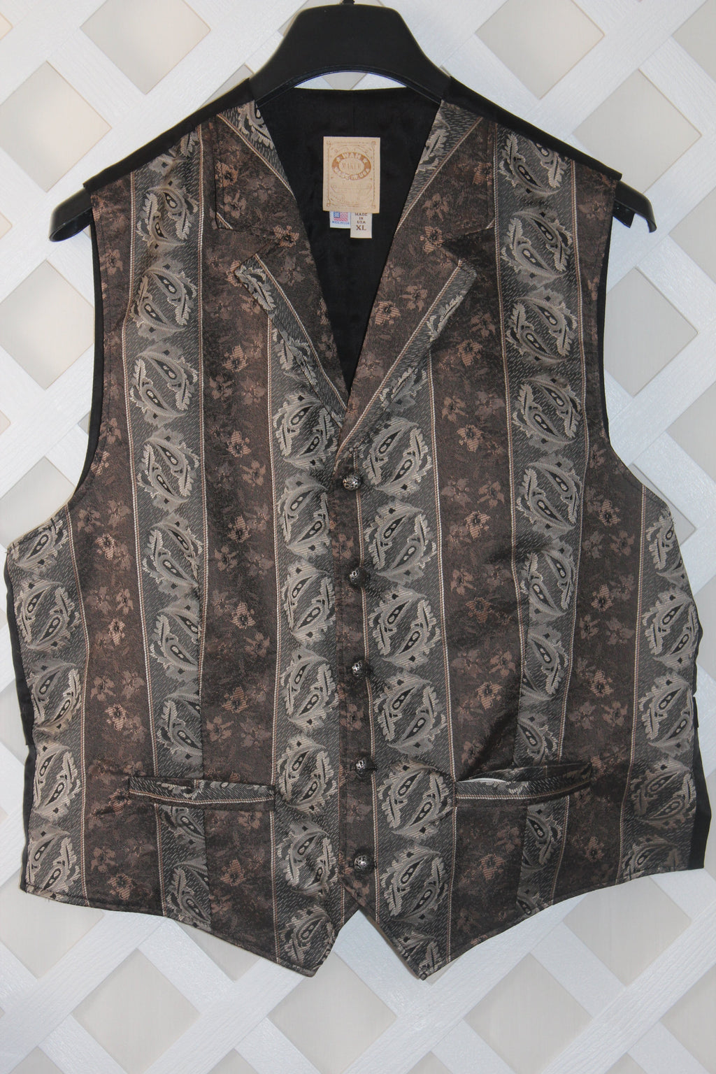 Men's Wahmaker Old West Victorian Brocade Vest-XL - Blanche's Place