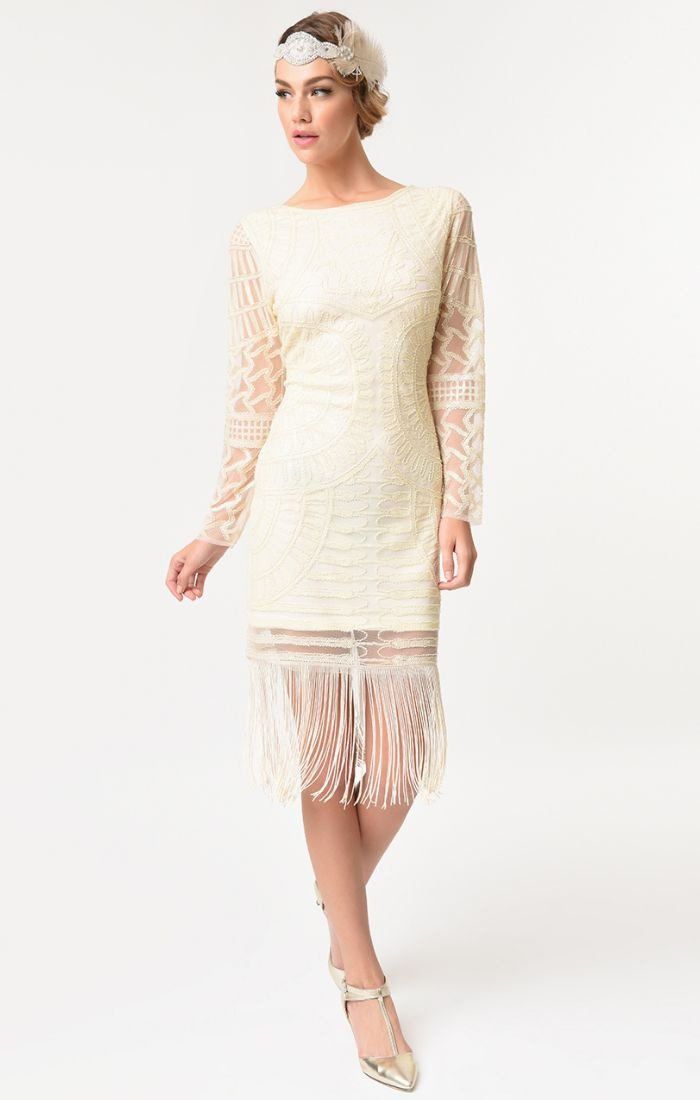 Ivory 1920's Vintage Inspired Beaded Cocktail Dress-Bizou - Blanche's Place
