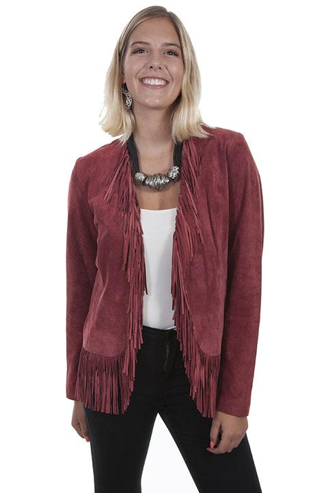 Woman Scully leather western fringe jacket in gorgeous wine