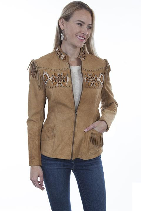 Ladies Scully Leather Western Fringe Jacket with Aztec Beading Design - L1004