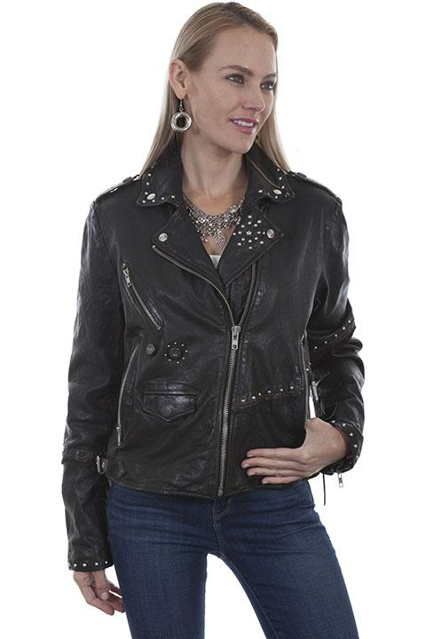 Womans Black Scully Leather Studded Motorcycle Jacket- L 1006
