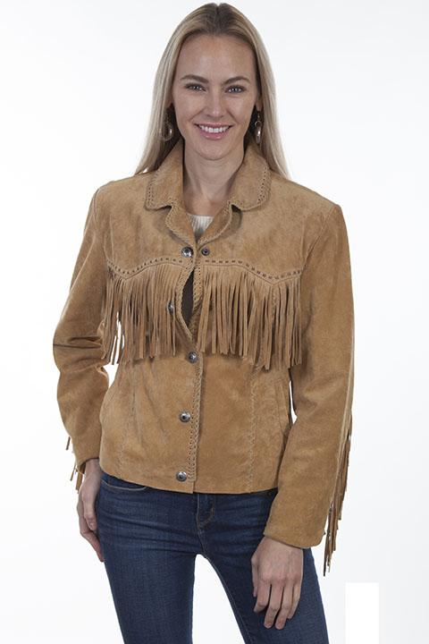 Womens Suede Leather Western Fringe Jacket - L1016