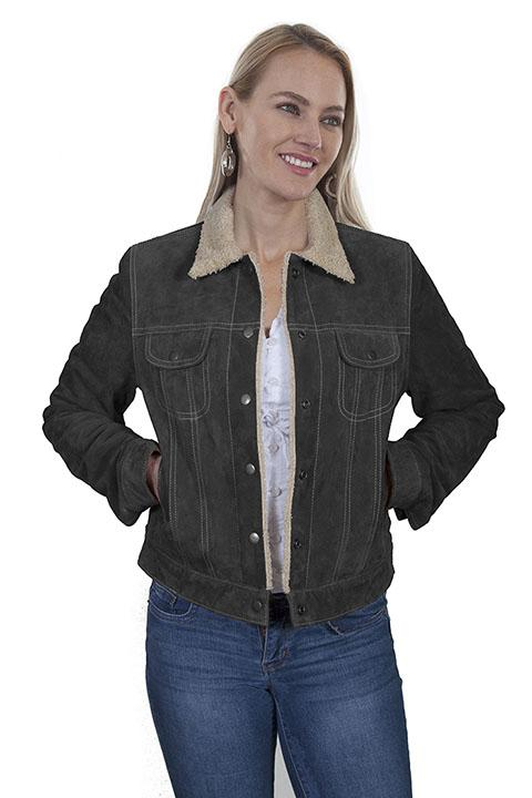 L411-254 Scully Womens Leather Laced Sleeve Jacket