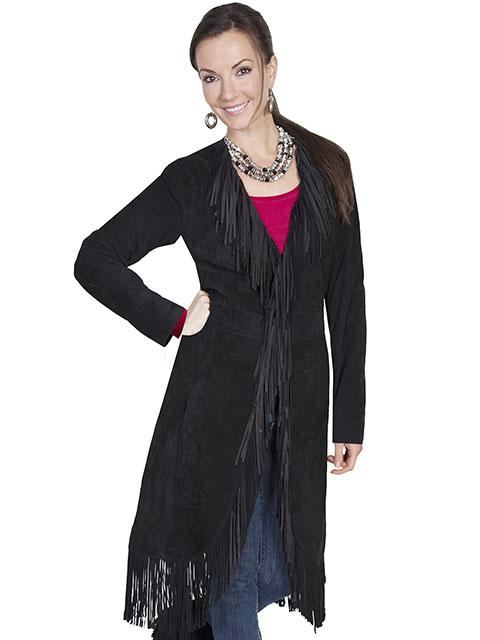 Womans  Long Maxi Leather Western Fringe Coat-L19