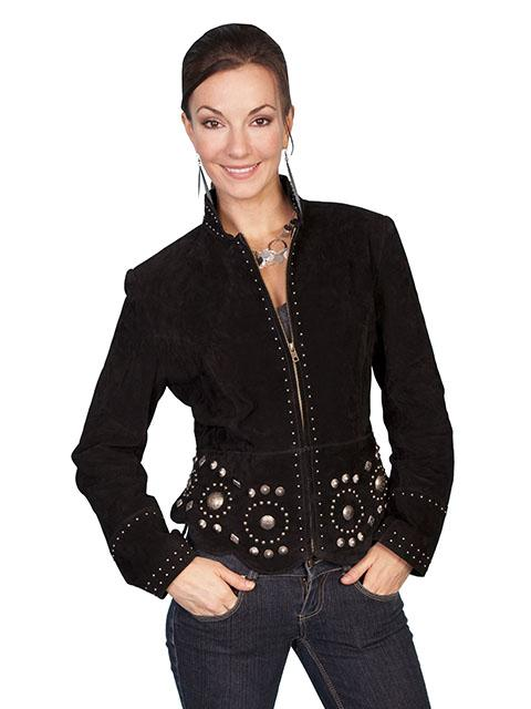 Scully Leather Womens Western Suede Jacket with Concho Studs-L191