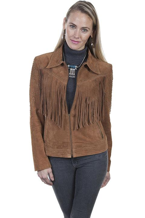 Women's Western Style Jacket with Fringe and Decorative Stud Design-L739 - Blanche's Place