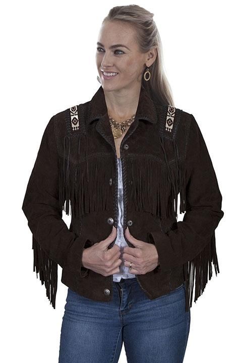 Ladies Western Fringe Jacket with Hand Laced and Bead Trim-L758