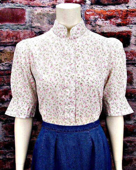 Vintage Inspired Floral Print Blouse-CL472 - Blanche's Place