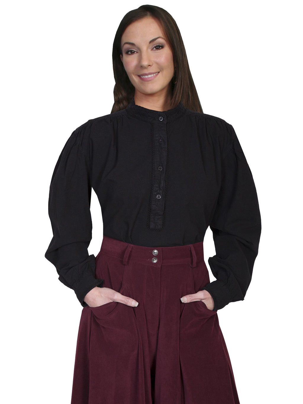 Ladies Black Cotton Old West Pull Over Blouse - shop-blanches-place