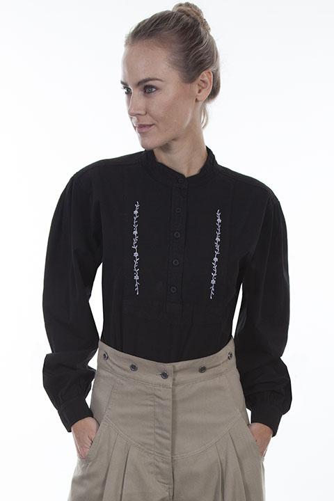 Ladies Old West Blouse with Embroidered Accents-RW579 - shop-blanches-place