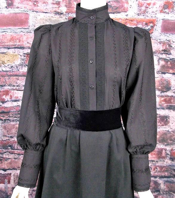 Ladies HIgh Neck Black Victorian Blouse-CL444 - Blanche's Place